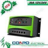 30A, 12V/24V, USB, СИД, регулятор PWM солнечный