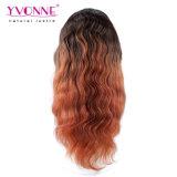Perruque brésilienne de lacet de cheveux humains de couleur d'Ombre pleine
