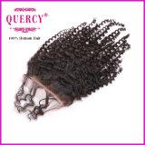 """Fábrica cabelo 100% venda por atacado humano fechamento laço da onda Virgin 3.5*4 Kinky brasileiro do """""""