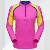 빠른 건조한 지퍼 t-셔츠를 훈련하는 남녀 공통 긴 소매 체조 스포츠