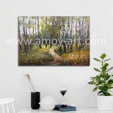 Pitture dipinte a mano di arte della tela di canapa di paesaggio dell'albero di silvicoltura