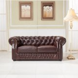 Estilo Europeu Chesterfield sofá de couro