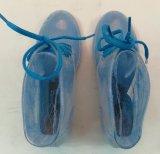 Estilo popular de la mujer zapatos de la lluvia de PVC transparente, la lluvia, zapatos, zapatos de impresión transparente
