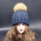 Оптовый шерстяной шлем зимы Pompoms