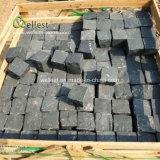 Угольный черный камень Bluestone вымощены булыжником дороге асфальтирование камня 10X10X5см природных Split
