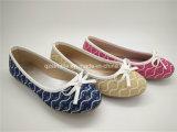 Bowknotのキャンバスの甲革が付いている女の子のバレエのダンスの靴