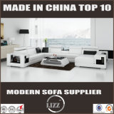 Projeto de couro Home moderno da forma do sofá U dos jogos de sala de visitas da mobília
