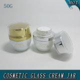 опарник белых косметик перлы 50g стеклянный Cream пустой с акриловой крышкой 50ml