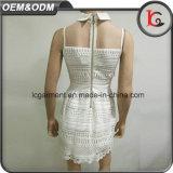Высокого качества на заводе женщина тканью элегантном белом платье кружевом конструкций сладкий сарафан рубашечным воротником платье 2017