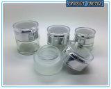 Choc cosmétique en verre clair transparent de produit de beauté de bouteille et en verre