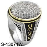 Anello d'argento placcato degli uomini dei monili 925 di modo dell'oro giallo dell'anello della CZ