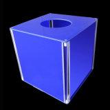 Изготовленный на заказ голубая акриловая урна для избирательных бюллетеней