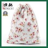 Durable cordón impreso regalo natural de algodón de almacenamiento de bolsa