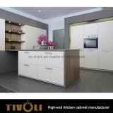 カシのベニヤおよび白い絵画未組立の食器棚Tivo-0205V
