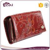 Новое портмоне цветка способа, бумажник женщины кожаный с выбитым цветком