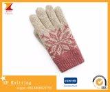 O inverno novo das senhoras fêz malha cinco - luvas da Dobro-Camada de lãs do dedo com jacquard