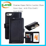 Наградной случай крышки телефона кожи бумажника застежки -молнии с держателем кредитной карточки Flip