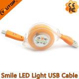 Изготовленный на заказ кабель переноса USB Retractalbe логоса с светом СИД