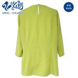 Verde fluorescente de manga larga y holgada blusa de señoras la moda
