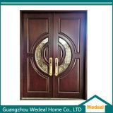 Дверь роскошного двойного внешнего входа твердая деревянная с стеклом