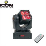 4X10W 4-em-1 Mini Wash Beam Zoom LED Moving Head com controle remoto
