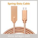 Cable de datos del USB del resorte del shell de la aleación de aluminio