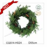 Diametro decorazione di plastica di festa di vendita di 45cm di verde della corona calda di natale