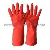 красный хлопок 60g Flocked водоустойчивая перчатка En388 чистки латекса домочадца