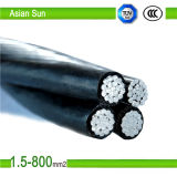 cable aéreo aislado PE/XLPE de aluminio del manojo del ABC del conductor 0.6/1kv