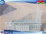 Cesta de recipiente de gaiola de malha de arame de armazenamento de metal dobrável (FLM-K-012)