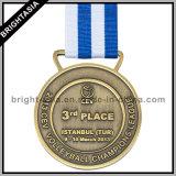 3D Medaillon Twee de Medaille van de Toekenning van de Sport van Kanten met Linten (byh-10839)