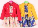 Dernière conception broderie florale en deux pièces de vêtements pour enfants Les enfants de l'habillement