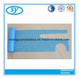 淡いブルーのカラーの使い捨て可能なプラスチックPEのエプロン