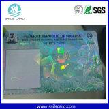 ID de la contrefaçon de cartes en plastique avec superposition de fleuret Laser