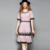 Amarelo e rosa vestido de renda casual vestido de renda casual