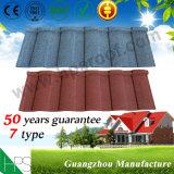 Material de telhado de azulejo de pedra de aço de alumínio Folha de telha de telhado de metal revestido de pedra