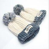 Muttergesellschaft-und Kind-Form-Tuch-Mischfarben-Kugel-Wolle-Hutdick warmer Knit-Hut