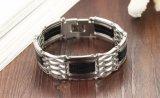 Heißer Mens-Titanstahlarmband-Silber-Farben-Schwarz-Silikon-Edelstahl-Armband für Männer Baggle Stulpe-Schmucksache-Großverkauf