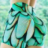 Venda quente Sexy High-Waisted ala Verde Fitness Imprimir Shorts Calças de mulheres que executam o exercício ioga curtos
