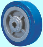 Hochleistungs-PU-Fußrollen-Rad mit der seitlichen Bremse (blau)