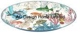 2마리 크기 타원형 항해 물고기는 서류상 전사술 금속 서빙 쟁반 W/Handle를 주문 설계한다
