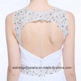 Detrás vestido de boda elegante Chiffon abierto atractivo moldeado de la alineada de boda