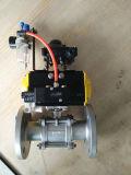 Électro robinet à tournant sphérique pneumatique de bride du PC 3