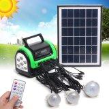 Solar asequible sistema de Casa con 3 equipos solares de lámparas de luz de acampada con radio FM cargador de fotos