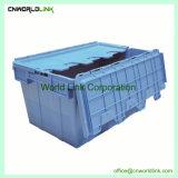 Venda a quente de armazenamento de plástico empilháveis Caixa de Logística em movimento com tampa