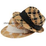 Sombreros del sombrero de ala de la paja del papel de capa doble (CPA_60118)