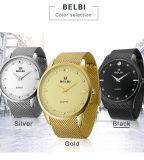 Quarz-Armbanduhr-grosser Vorwahlknopf-ultradünne Stahluhrenarmband-Armbanduhr Soem-heißer der verkaufengeschäftsleute für Mann-Luxuxmarkenname Belbi schwarzes silbernes Gold