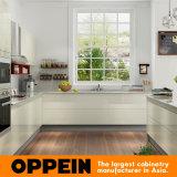 Gabinete de cozinha de madeira da laca elevada cinzenta branca moderna do lustro (OP16-L15)