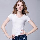 T-shirt 100% fait sur commande de blanc de 2017 de vente en gros de mode de modèle du coton fait sur commande V d'impression femmes de collet