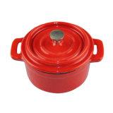 24cmの赤いカラー鋳鉄の鍋かエナメルを塗られた上塗を施してある鋳鉄の調理器具